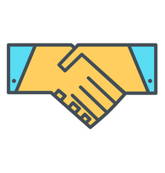 handshake line icon symbol vector image