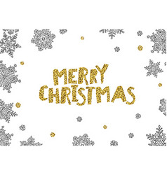 Merry Christmas Golden Greeting On White Christmas vector image vector image