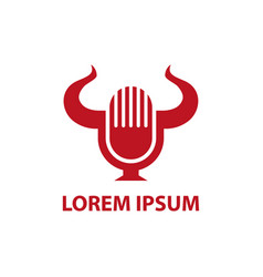 retro microphone and bull horns minimalistic icon vector image
