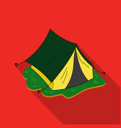 yellow tent icon in flat style isolated on white vector image vector image