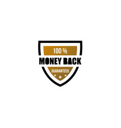 100 money back guaranteed gold icon shield vector
