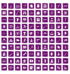 100 violation icons set grunge purple vector