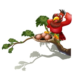 A red bird watching the nest vector image