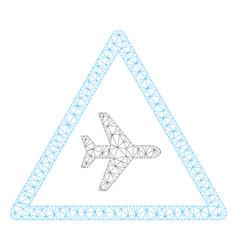 Airplane danger polygonal frame mesh vector