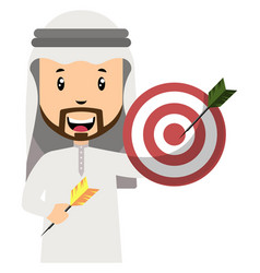 arab with target on white background vector image