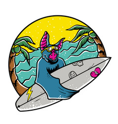 bat surfing vector image