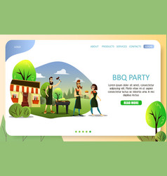 bbq party landing page website template vector image