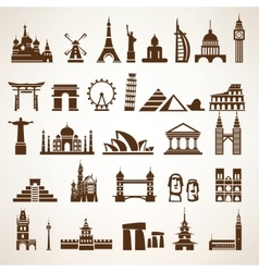 big set world landmarks and historic buildings vector image