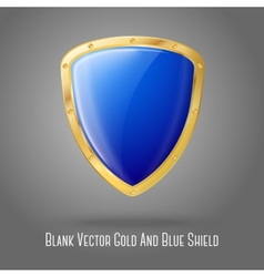 Blank blue realistic glossy shield with golden vector image