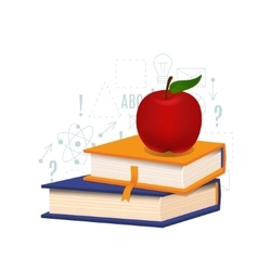 Book and apple vector