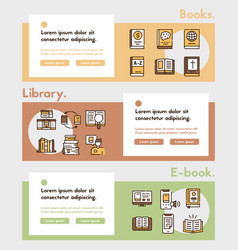 books reading color linear icons set vector image