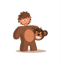 Boy Desguised As Bear vector image