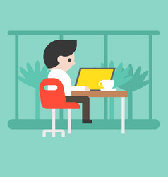 business man working with laptop at coffee shop vector image