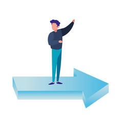 businessman standing on financial arrow vector image