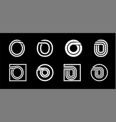 Capital letter o modern set for monograms logos vector