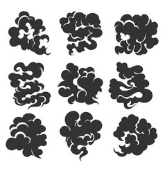cartoon black smoke cloud set vector image