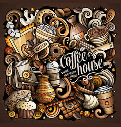 Cartoon doodles coffee house vector