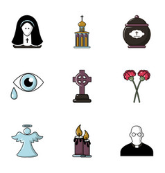 cemetery icons set flat style vector image