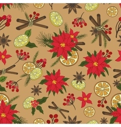 Christmas samless pattern setNew year doodles vector image