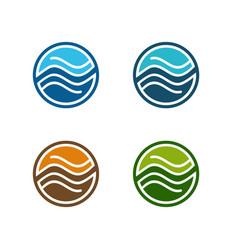 Circle water flow logo template vector