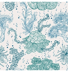Collection of marine plants leaves and seaweed vector