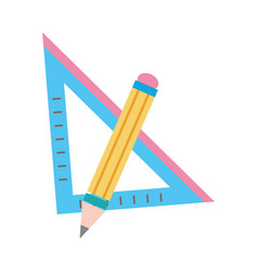 Colorful square ruler with pencil school tools vector