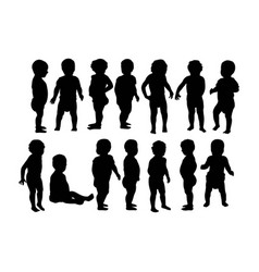 Cute baby activity silhouettes vector