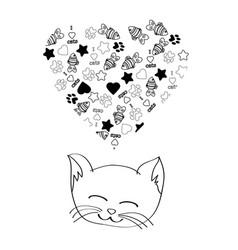 cute cartoon cat dreaming vector image