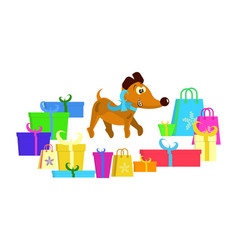 cute puppy with gifts vector image
