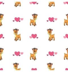 Cute seamless pattern with little cartoon deer vector image