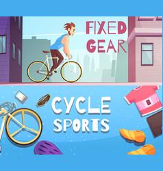 cycle sports horizontal cartoon banners vector image