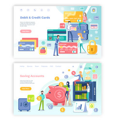 Debit and credit card saving accounts web set vector