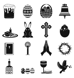 Easter black simple icons vector image