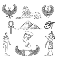 Egypt symbols set vector
