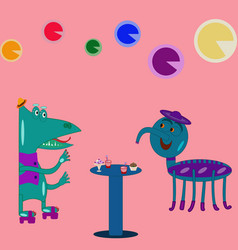 fantastic creatures at a party vector image