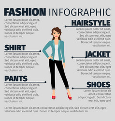 fashion infographic with young business girl vector image