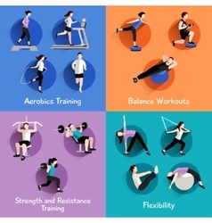 Fitness 4 flat icons square banner vector