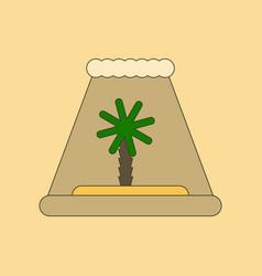 Flat icon on background tsunami island vector