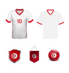 Football kit tunisia 2018 shirt template for vector