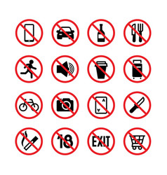 forbidden signs prohibition and warning vector image