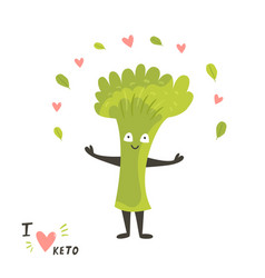funny cute broccoli character keto diet lover vector image