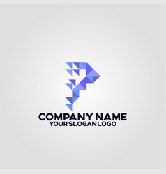 geometry polygon triangle logo letter p vector image
