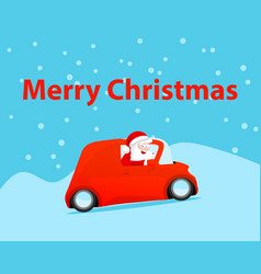 gift card merry christmas santa claus drive car vector image