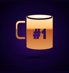 Gold coffee cup flat icon isolated on dark blue vector