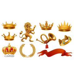 gold crown king laurel wreath trumpet lion vector image