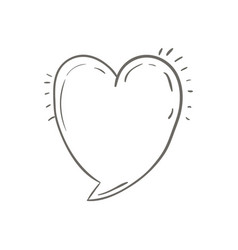 Gray hand drawn speech in form of heart vector