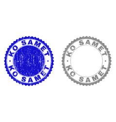 grunge ko samet scratched stamps vector image
