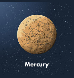 hand drawn sketch of planet mercury in color vector image