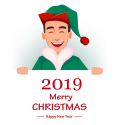handsome santa claus helper elf vector image