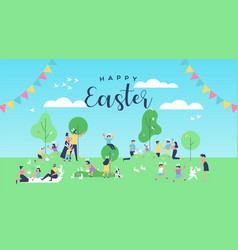 Happy easter card funny people at spring park vector
